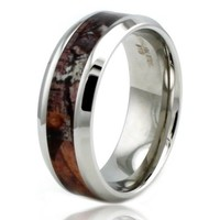 Stainless Steel Solider Desert Wood Camouflage Camo Engravable Wedding Ring