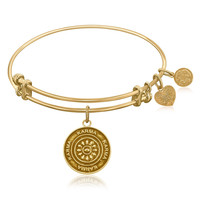 Expandable Bangle in Yellow Tone Brass with Karma Symbol