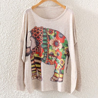 Vintage Women Long Sleeve Floral Elephant Print Loose Pullover Knit Sweater Tops (Color: Beige) = 1920431428