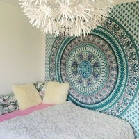 The Bella Peacock Elephant Mandala Tapestry