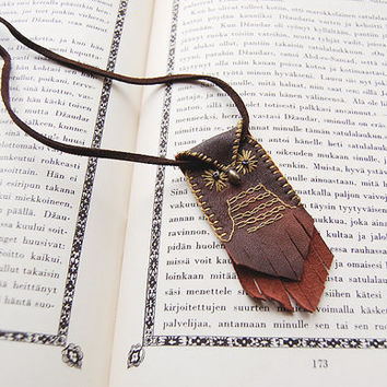 owl necklace - leather owl necklace - recycled leather, stitching, embroidery - brown owl pendant - hippie necklace