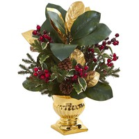 Artificial Flowers -20 Inch Magnolia Leaf and Holly Berry Arrangement-Gold Urn