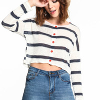 STRIPED BUTTONED CROP TOP