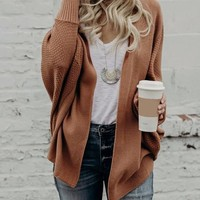 Brown Open Front Batwing Sleeve Knit Cardigan