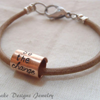 be the change Bracelet leather inspiring quote