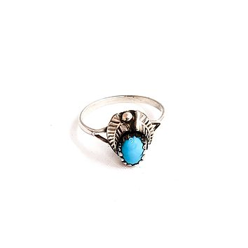 Navajo Native American turquois sterling silver vintage ring 925 size 6.5