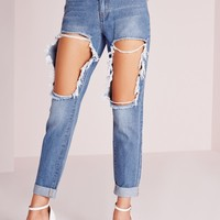 Missguided - Riot High Rise Open Thigh Slim Leg Jeans Stonewash Blue