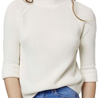 Topshop Boxy Turnback Cuff Mock Neck Sweater   Nordstrom