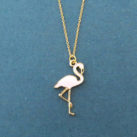 Flamingo, Gold, Necklace, Pink, Plamingo, Gold, Chain, Necklace, Birthday, Best friends, Sister, Gift, Jewelry
