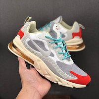 Nike Air Max 270 React White Grey Red KPU Drop Plastic Upper Running Shoes - Best Deal Online