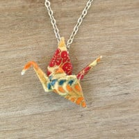 Asian Origami Crane Necklace, Asian Necklace, Asian Jewelry, Japanese Necklace, Origami Necklace, Origami Jewelry, Crane Necklace