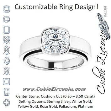 Cubic Zirconia Engagement Ring- The Dunyasha (Customizable Cathedral-Bezel Cushion Cut Solitaire with Wide Band)