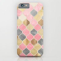 Silver Grey, Soft Pink, Wood & Gold Moroccan Pattern iPhone & iPod Case by Micklyn