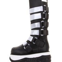 Demonia Black and White Neptune Boots   Cyber Boots from RaveReady