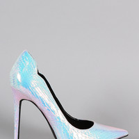 Shoe Republic LA Hologram Snake Pointy Toe Stiletto Pump