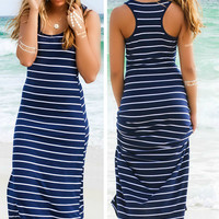 Women Summer Striped Boho Evening Party Long Maxi Beach Dress Cotton Vest Dress = 4756848516