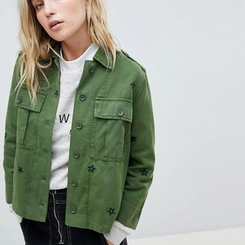 Whistles Star Embroidered Utility Shirt at asos.com