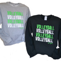 Neon Green and White Volleyball Crewneck Sweatshirt