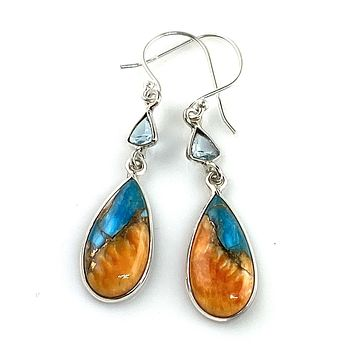 Spiny Oyster Blue Turquoise Sterling Silver Drop Earrings