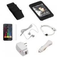 USB Data Cable + USB Car Charger + USB Home Charger + Black Rubber Silicone Skin Case + Elastic Armband + Clear Reusable LCD Screen Protector + White 3.5mm Stereo Headset for Apple Ipod Touch Itouch 8GB 16GB 32GB 2G 2nd Generation