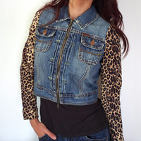 Upcycled Ezra Fitch Cropped Jean Jacket With Leopard Sleeves