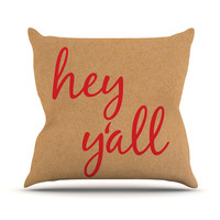 "KESS Original ""Hey Y'all - Red"" Brown Red Outdoor Throw Pillow"