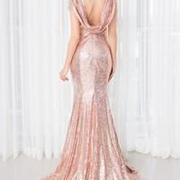 Cheap Short Sleeve O-neck Champagne Sequined Bridesmaid Gowns Wedding Party Dress In Stock  Trumpet Mermaid Bridesmaid Dresses