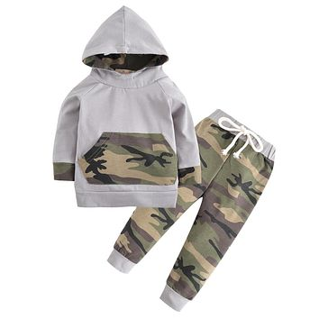 2PCS Kids Clothing born Toddler Baby Boys Clothes Set Tops Hooded Warm + Long Pants Casual Hoodies Outfits Set Autumn Winter