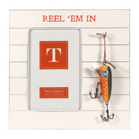 Bait and Tackle Fishing Photo Frame with Hanging Lures - for 4x6-in Photos (Reel 'Em In)