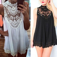 Sheer Lace Panel Mini Dress in Black or White