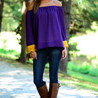 Lace Yourself Blouse, Purple/Gold