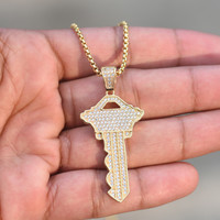 "Major Key Pendant 14K Gold Finish Lab Diamonds Iced Out Steel 26"" Inch Pave Set"