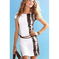 Cool Summer Belted Black Shadow Printing Dress White
