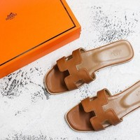 Hermes Oran H Exotic Brown Lizard Sandals Slippers Flats - Best Deal Online
