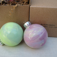 Glass Hand Painted Ornament, glow in the dark, OOAK Spring Green marbled paint