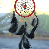 Dream Catcher Red Cateye, Native American Style,  Dream Catcher Red and Black, Rear View Mirror, Car Mirror Charm, Car Accessory.