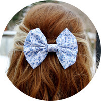 Willow Hair Bow - White and Blue Floral Hair Bow with Clip
