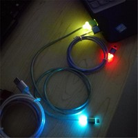 Metal Glow LED Micro USB Cable Colorful 1M Light Micro usb Charger Data Sync Cord Fast Charging