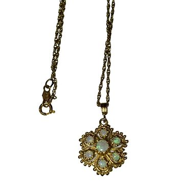 Vintage Victorian 14k Gold Opal Pendant and Chain Baskin Bros, Dainty Wedding Jewelry, Victorian Style Bride Necklace