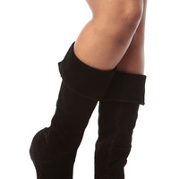 Black Faux Suede Fold Over Calf Length Boots