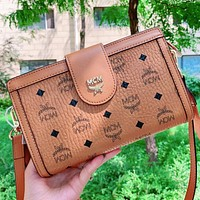 MCM New fashion more letter leather shoulder bag crossbody bag Brown