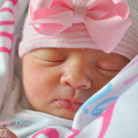 Sweet Pink First Bow Newborn Boutique Hospital Hat