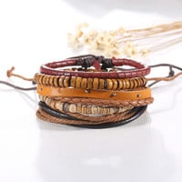 5pcs/set Brown Color Multilayer Braid Leather Bracelets for Men Charms & Beads Wrap Friendship Jewelry Boho Jewlery