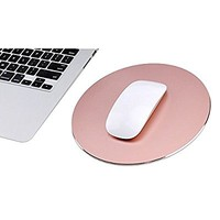 RANHE Round Aluminum Mouse Pad for Macbook iMac PC Laptop(Pink)