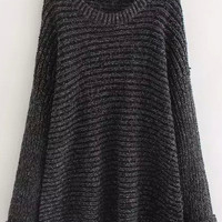 Black Marbled Loose Fitting Knit Sweater
