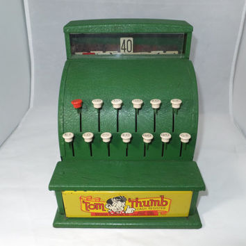 Vintage Toy Cash Register - Tom Thumb Green Metal, Working Mechanical, Cha Ching Sound, Till Opens, 1930s, All Original, Excellent Condition