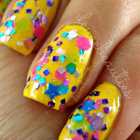 Pistol Packing Pink  Neon Glitter Nail by SparkleFactorLacquer