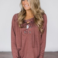 Cozy in Lace Sweater ~ Rust Red