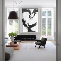 Eagle Abstract wall art, extra large wall art, large abstract painting on canvas, wildlife paining, silhouette art, acrylic painting canvas