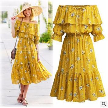 Spring and summer 2018 new large size dress chiffon dress shredded flower chiffon skirt